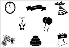 New Year 2012 Silhouette Clip Art Pack