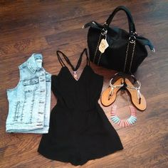 Little black romper (or dress) + denim vest + sandals. So cute and simple! Great for a shopping day in Freeport