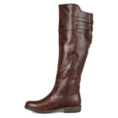 Women's Extra Journee Collection Double Buckle Knee-High Riding Boots - Brown 8.5 Extra Wide Calf