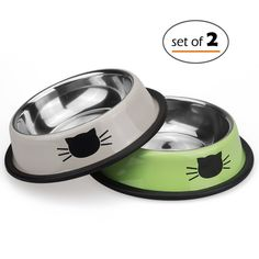 Petfamily Stainless Steel Cat Bowl, Heavy Duty Dog or Cat Dish for Small Dogs and Cats Painted with Non-Skid Rubber Bottom, Pet Food and Water Bowl 8 Ounce (Set of 2) *** Click image for more details. (This is an affiliate link and I receive a commission for the sales)