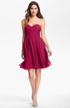 simple, seems flattering. search for amethyst color (couldn't get it to pin the right picture) Donna Morgan 'Morgan' Strapless Silk Chiffon Dress available at Nordstrom Silk Chiffon, Chiffon Dress, Strapless Dress Formal, Formal Dresses, Elegant Dresses, Berry Bridesmaid Dresses, Bridesmaids, Bridesmaid Color, Winter Wedding Outfits