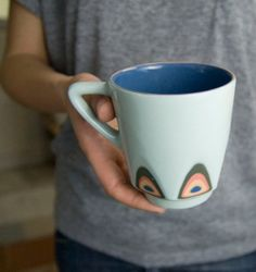 Ceramic stoneware cup coffee tea mug  unique by imkadesign on Etsy, $32.00