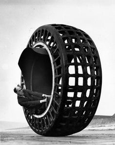 In 1932, Dr. Archibald Purves from England designed the Dynasphere.  He believed that one huge wheel encompassing five passengers was far more efficient than a car with four wheels.  The biggest issue was that it steered quite poorly.