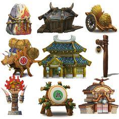 游戏美术资源/场景素材/2D游戏美术素材 中国风【Q版建筑元素】-淘宝网