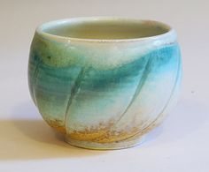 Turquoise Twist Porcelain Teabowl by VoorheesPottery on Etsy, $38.00