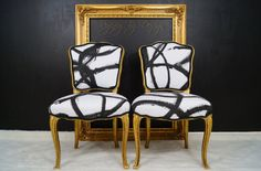 black white gold chairs