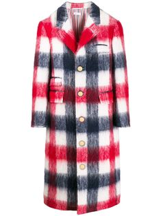 $3450.0. THOM BROWNE Coat Long Checkered Single-Breasted Coat #thombrowne #coat #lining #clothing Strategy Games, Thom Browne, Single Breasted, Plaid, Street Style, Coat, Shopping, Fashion, Gingham