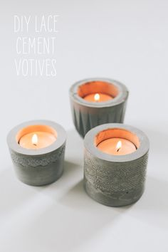 DIY cement tealight holders with lace pattern.  Tutorial from Say Yes to Hoboken blog.