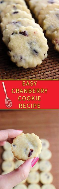 holiday treats Easy Cranberry Cookie Recipe - eggless simple butter cookies with cranberries, just few simple ingredients. Cranberry Cookies, Cranberry Recipes, Holiday Cookies, Holiday Treats, Christmas Treats, Holiday Recipes, Cranberry Muffins, Cranberry Sauce, Fruit Recipes