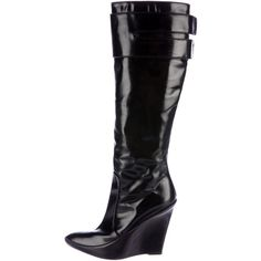 Pre-owned Givenchy Knee-High Wedge Boots ($275) ❤ liked on Polyvore featuring shoes, boots, black, wedge boots, wedge heel knee high boots, leather wedge boots, knee-high wedge boots and knee boots
