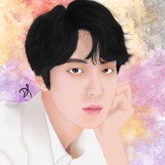 #BTS #Jin #fanart #digital #painting #kpop #btsfanart Bts Jin, Fanart, Kpop, Digital, Painting, Instagram, Painting Art, Fan Art, Paintings