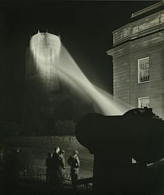 "Edward Chambre Hardman - ""Searchlight on Anglican Cathedral,"" 1951"