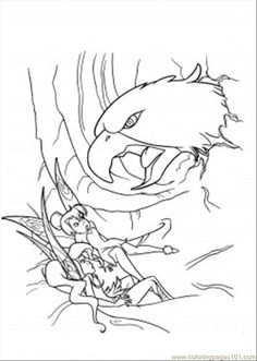 Vidia And Tinkerbell Are Attacked By Hawk Coloring Page For Kids Adults From Cartoons Pages Disney Fairies