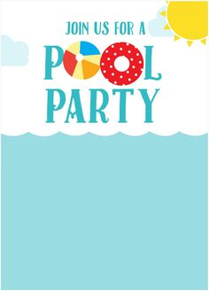 Pool Party Free Printable Party Invitation Template Greetings - Party invitation template: pool party invitations templates