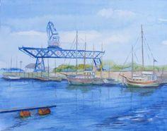 Haedgehalbinsel (c) Aquarell von FRank Koebsch Watercolor Artists, Watercolour Painting, Watercolors, Hanse Sail, Baltic Sea, Westerns, The Good Place, Nautical, Sailing