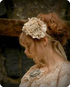 Enchanted Forest Girl Head Piece - Unconventional Wedding - Rustic Chic Bridal Hair Accessories - Mori Girl Hat. $125.00, via Etsy.