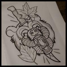 Finger Tattoos, Body Art Tattoos, Hand Tattoos, Sleeve Tattoos, Traditional Bear Tattoo, Traditional Tattoo Design, Traditional Tattoo Stencils, Traditional Tattoo Drawings, Bear Tattoos