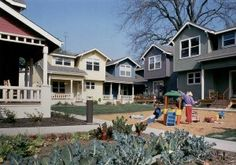 Interior courtyard of Sacramento Cohousing Community