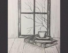 Pencil drawing, Book art, original pencil sketch, still life, graphite drawing, Coffee and Books, fall scene