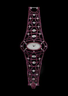 Flaming Ruby Watch by Carnet - white diamond and ruby watch with diamond pave dial