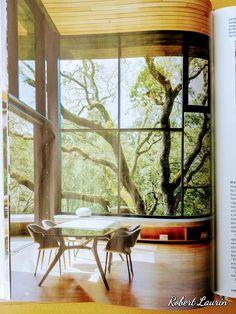 une salle a manger avec vu sur un arbre centenaire