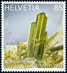 Swiss special stamp: International Year of Crystallography 2014 - «Epidote» www.post.ch/philashop