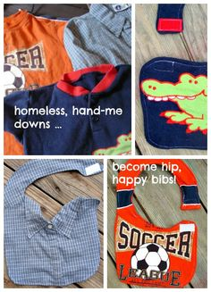 Upcycle hand-me-down shirts into reversible bibs. DIY/Tutorial