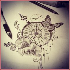 Suzi Tattoo Idée tatouage orchidée- symbolique, faits curieux et photos inspirantes, Idée tatouage orchidée- symbolique, faits curieux et photos inspirantes modèle-tatouage-orchidée-papillon-horloge-flèches TATOUAGE. Watch Tattoos, Time Tattoos, Body Art Tattoos, New Tattoos, Tattoos For Guys, Tattoos For Women, Cool Tattoos, Orchid Tattoo, Flower Tattoos