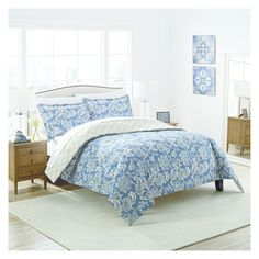 Blue & Tan Floral Coventry Reversible Comforter Set (King) 3pc - Marble Hill, Blue Beige