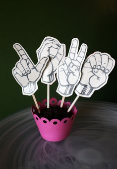 Favorite  Like this item?    Add it to your favorites to revisit it later.  I Love You Sign Language Cupcake Toppers