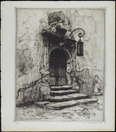 Portal im Rathoushof, Rothenburg, O.T., 1909      Frank Milton Armington Canadian, 1876 - 1941      Etching on paper      Overall (image): 34.6 x 27.7 cm      Gift of Browns Collection, 2004   © 2012 Art Gallery of Ontario