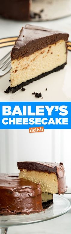 This Baileys Cheesecake Is Seriously Life-Changing (and the chocolate on top is seriously fudgy) Baileys Cheesecake, Cheesecake Recipes, Dessert Recipes, Jello Cheesecake, Just Desserts, Delicious Desserts, Yummy Food, Gourmet Desserts, Plated Desserts