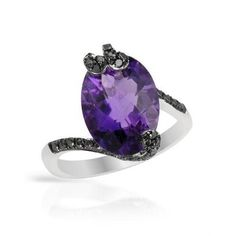 Cocktail Ring With 6.15ct TW Precious Stones - Genuine Amethyst and Diamonds White Gold-