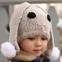 Free Knitting Pattern for Baby Bunny Hat - Floppy-eared rabbit hat by Gina Michele for babies 1-2 years.
