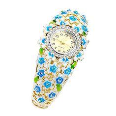 Hollow Fashion Cloisonne crystal flower women watch bangle... http://www.amazon.com/dp/B01DF2S8OY