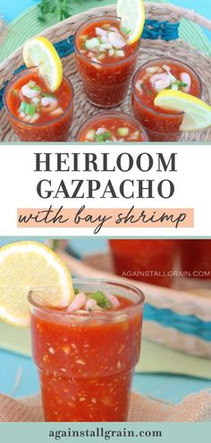 Beat the summer heat with this delicious Heirloom Gazpacho with Bay Shrimp! This cold soup recipe can be made in a food processor or blender. If you don't have access to heirloom tomatoes, vine ripened will work too. Give this tasty, paleo recipe a try! #gazpacho #paleo Sugar Free Recipes, Paleo Recipes, Gourmet Recipes, Soup Recipes, Salmon Dinner, Seafood Dinner, Shrimp Dishes, Shrimp Recipes, Grain Free