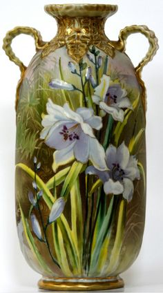 NIPPON HAND PAINTED LILIES VASE.