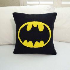 Batman Fleece Throw Pillow, DC Comics by PatternsOfWhimsy on Etsy
