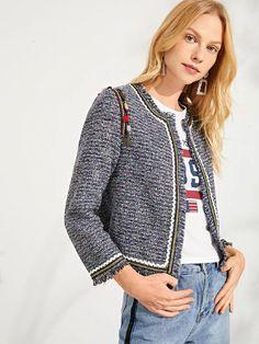 c0ce7cd4ef SHEIN Multicolor Elegant Workwear Tassel Detail Frayed Edge Fashion Short  Jacket 2018 Autumn Highstreet Women Coat And Outerwear
