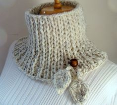 Chunky Rib Dangling Leaves Cowl by Valerie's Gallery