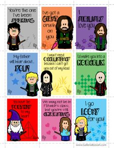 2014 Harry Potter Valentines by me! www.GalleriaByLeah.com