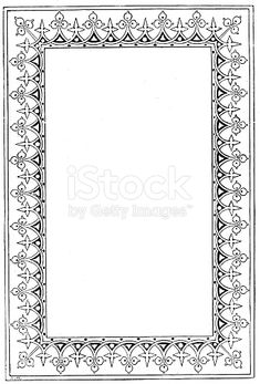 Taken from The Guardian Angel Whispers Victorian Black And White Illuminated Page Frame Style With Empty Text Boxes Century Ornate Page Decoration 1866 stock vector art 921019010 Islamic Tiles, Islamic Art, Metal Art Decor, Page Frames, Paint Icon, Doodle Frames, Page Decoration, Leather Bound Books, Turkish Art