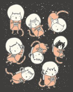 unos astronautas muy gatunos, ilustración de Drew Brokington