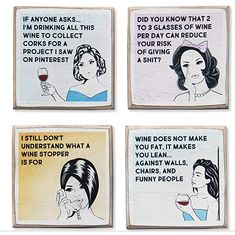 4 Funny Wine Coasters Set & Holder, Rustic Wood with Funny Sayings & Quotes in the Coasters category was listed for on 21 Apr at by ReliableStore in Outside South Africa Rustic Coasters, Bar Coasters, Gifts For Wine Lovers, Wine Gifts, Funny Coasters, Wine Quotes, Wine Bottle Holders, Wine Stoppers, Novelty Items