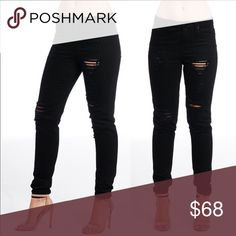 ⭐️COMING SOON⭐️ Black Distressed Skinny Jeans Black skinny jeans with a distressed look. Some stretch. Sizes 28, 29, 30, and 31 available soon. Jeans Skinny