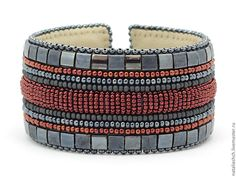 Купить Браслет вышитый бисером, широкий на основе, серый красный (0306) - темно-серый, серый