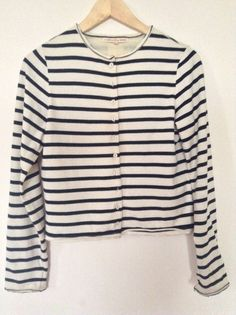 Cabbages and Roses Breton Stripe Jigsaw Cardigan Sweater Jacket S 10 Silk lined