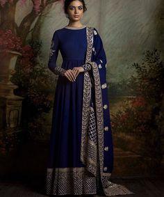 Blue Indian Anarkali/Dress | Beautiful & Elegant | Simple Silver Embroidery Work