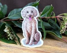 Cream Labradoodle Dog on Weatherproof Glossy Sticker Paper Height: Inches; Width: Inches Stickers are sold individually or in packs of 3 and 10 Product specs: White Labradoodle, Handmade Items, Handmade Gifts, Glossier Stickers, Dinosaur Stuffed Animal, Etsy Seller, Teddy Bear, Creative, Prints