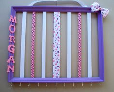Picture Frame Hair bow and headband organizer, personalized, 16x20, hair accessories holder, childrens room decor, pink and purple